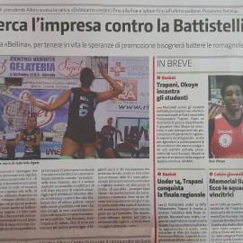 Dicono di noi…..oggi il Giornale di Sicilia presenta cosi la gara di oggi!